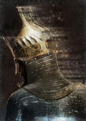 ottoman warrior armor helmet fighter soldier golden painting man light orient historical past brown