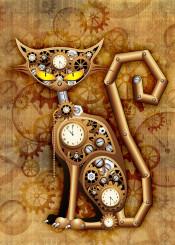 steampunk cat animal feline vintage retro surreal art mechanical copper toy clocks gears bolts