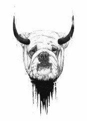 dog horns bull bulldog animal humor funny black and white