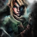 Link as an emotional, epic painted portrait focusing on his darker side, inspired by Nintendo's game title Legend of Zelda.