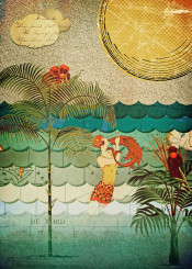 collage coral bubbles cut fish waves exotic art deco paper swimmer summer beach monkeys palm maps