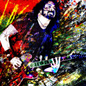 Dave Grohl Art WHAT IF I SAY I'M NOT LIKE THE OTHERS?!!This piece was created with a mixed-medium process using one of our rock photos. With painted patterns and textures masked within the musician in a style that reflects their music, applied to canvas, painted further, then scanned or photographed for printmaking.