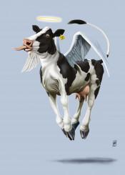 cow bovine animal mammal friesian spots angel wings religion holy