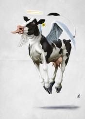cow bovine animal mammal friesian angel wings flying