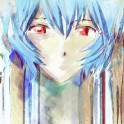 Rei Ayanami watercolor portrait inspired by the anime/manga series Evangelion