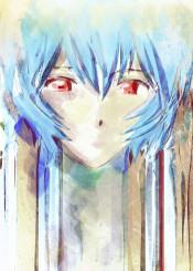 ayanami rei evangelion eva robot mecha shinji ikari girl nerv watercolor albino 90s anime manga