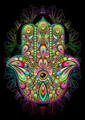 hamsa hand protection symbol positive psychedelic powerful strength goodluck tribal tradition amulet