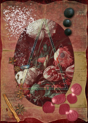 collage alchemy star anise petals burgundy triangle marsala seeds parchment oval flowers baroque