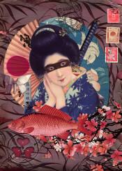 collage geisha katana cherry flowers japanese nipponese fish stamps marsala coral woman cut paper