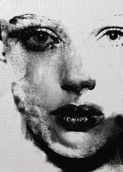 art digital woman black white charcoal
