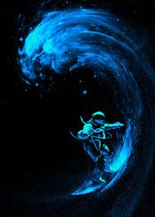 space art design illustration stars wave astronaut ride play surreal
