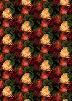 roses flowers pattern romantic bouquet blooming feminine