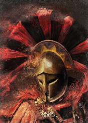 spartan warrior greek ancient historical soldier military ancient man golden red helmet european him