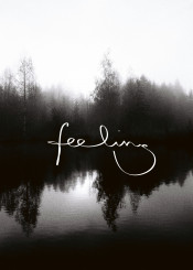 feeling nature sea lake black white mood water trees tree typography analog reflection lettering