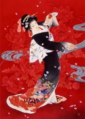 haruyo morita red geisha japanese vertical asian traditional painting kimono