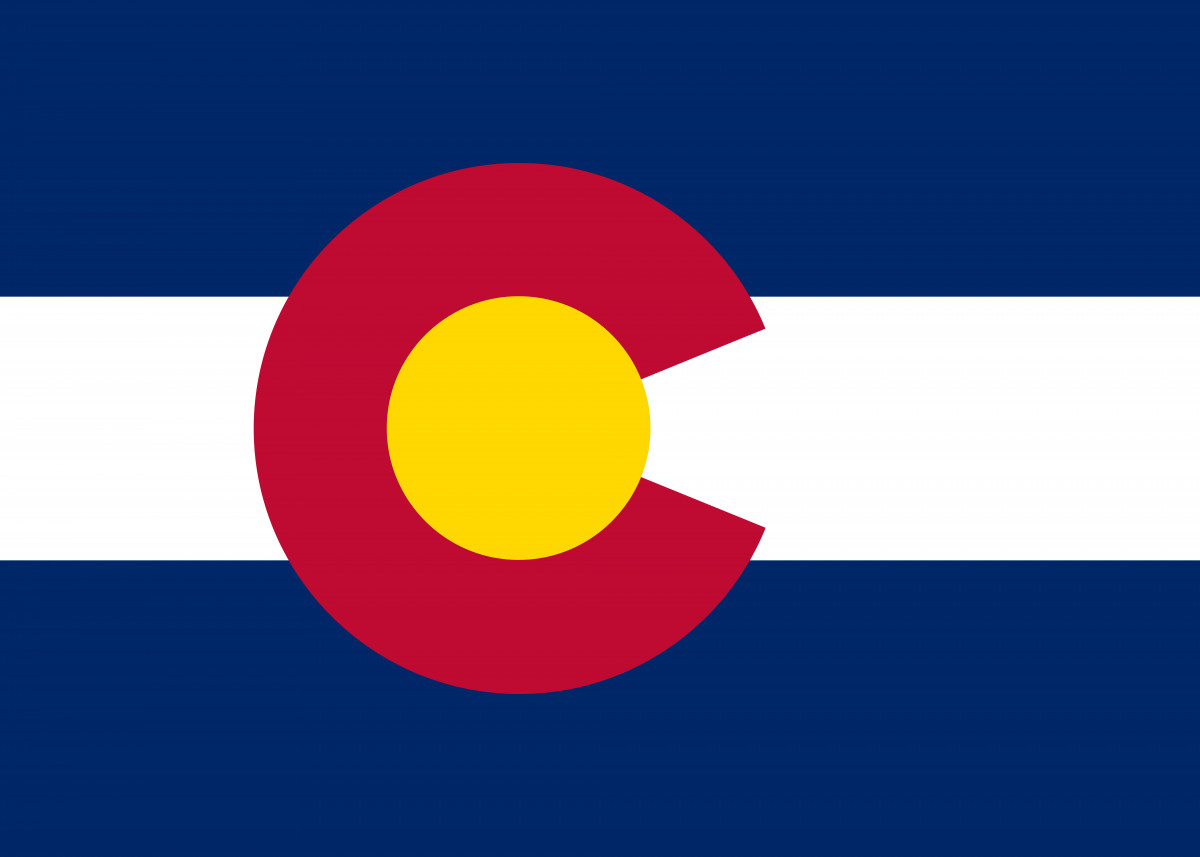 The flag of the state of Colorado, the blue is meant to represent the