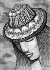 hat woman girl lady face tulips flowers black white gray