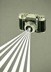 camera collage retro abstract simple vintage stripes grey white black