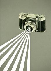 camera collage retro abstract simple vintage stripes grey white black