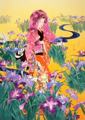 asian woman japanese japan geisha traditional painting asian yellow river flower floral vertical