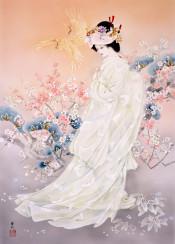 japanese asian floral flower geisha japan bird woman female pink