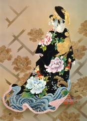 asian japanese japan painting art woman geisha girl female kimono flowers