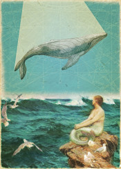 whale song collage music vintage turquoise mermaid sea ocean waves marine fly inspirational romantic