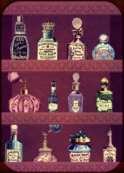 collage essencens cosmetics vintage beauty antique old pieces bottles female her woman frech perfume