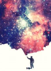 space universe galaxy pink painting nebula street art cool hipster stars purple geek nerd astronomer