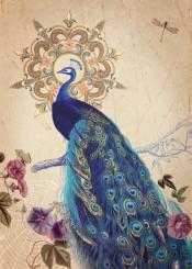 indigo blue gragonfly garden nostalgia flowers vintage peacock feathers fine home french botanic old
