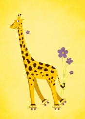 giraffe giraffes yellow cute skating cartoon illustration animal animals skates