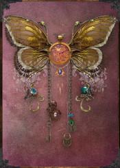 steampunk butterfly clock marsala vintage old antique collage golden metal metal later dark punk
