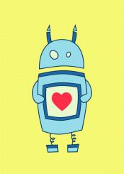 robot cute robots geek nerd heart cartoon heart love bright illustration vector