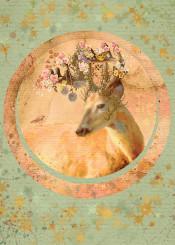 forest spirit collage deer bird flowers orange green woodland botanic totem flowers dream magic warm