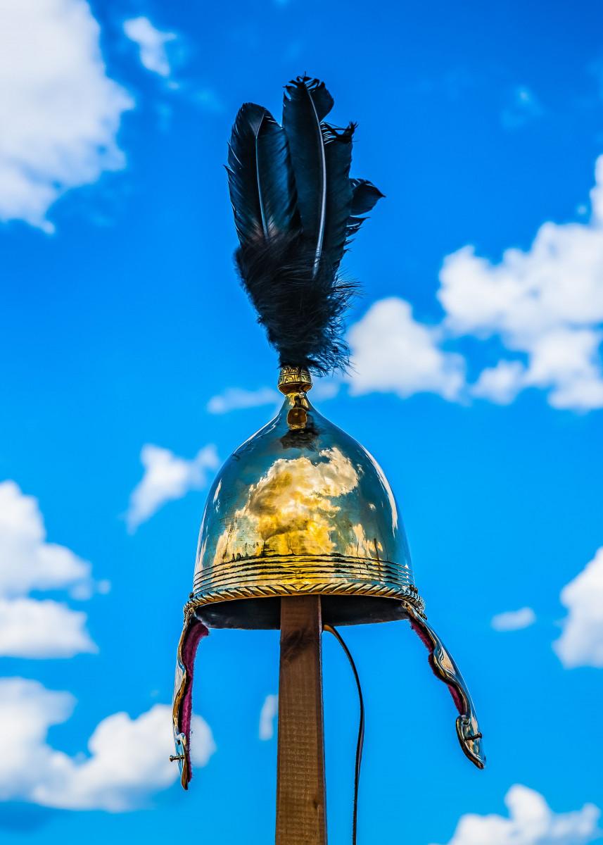 Image of Military helmet of Roman Empire. The copper helmet with ...