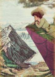 collage contemplation edwardine mountain marsala landscape woman antique frozen land cliff triangle