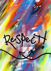 street art urban art abstract graffiti respect unique colourful blue red yellow