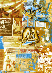 collage asia thai culture thailand type pop art poster dance