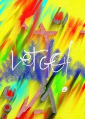 abstract urban street art graffiti blue red yellow let go green