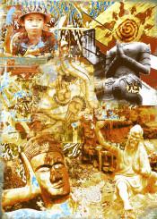 buddha asia ganesha kungfu collage street art earth sky sun elements dharma laos cambodia girl life