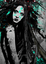 wild one face female lady hair tribal blast abstract surreal colours black warrior splatter blast