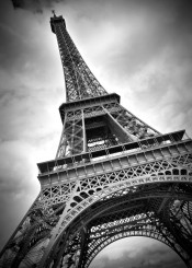 paris eiffel tower black white monochrom sight landmark france clouds vignette decorative urban