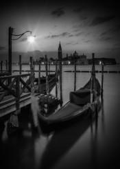 venice italy black white water canal grande grand gondola church light morning sunrise maggiore