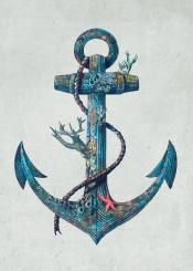 anchor nautical sea ocean coral starfish blue