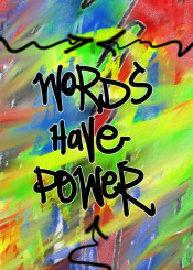 urban street art graffiti abstract words power poetry green yellow red blue