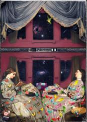space surreal travel universe time antique stars future girls pi dreamy calm victorian dream collage