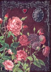 rose tree door flowers eye dark marsala granet burgundy lock victorian collage old botanical old