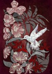 secret garden collage fabric hummingbird flowers marsala bird burgundy garnet romantic white vintage