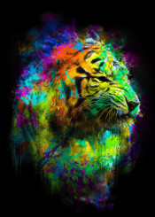 animal tiger colors colorful rainbow breakfree abstract neon illustration surreal art