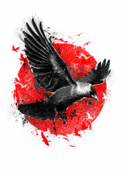 bird crow fly flight flying red sun illustration digital unique japanese japan